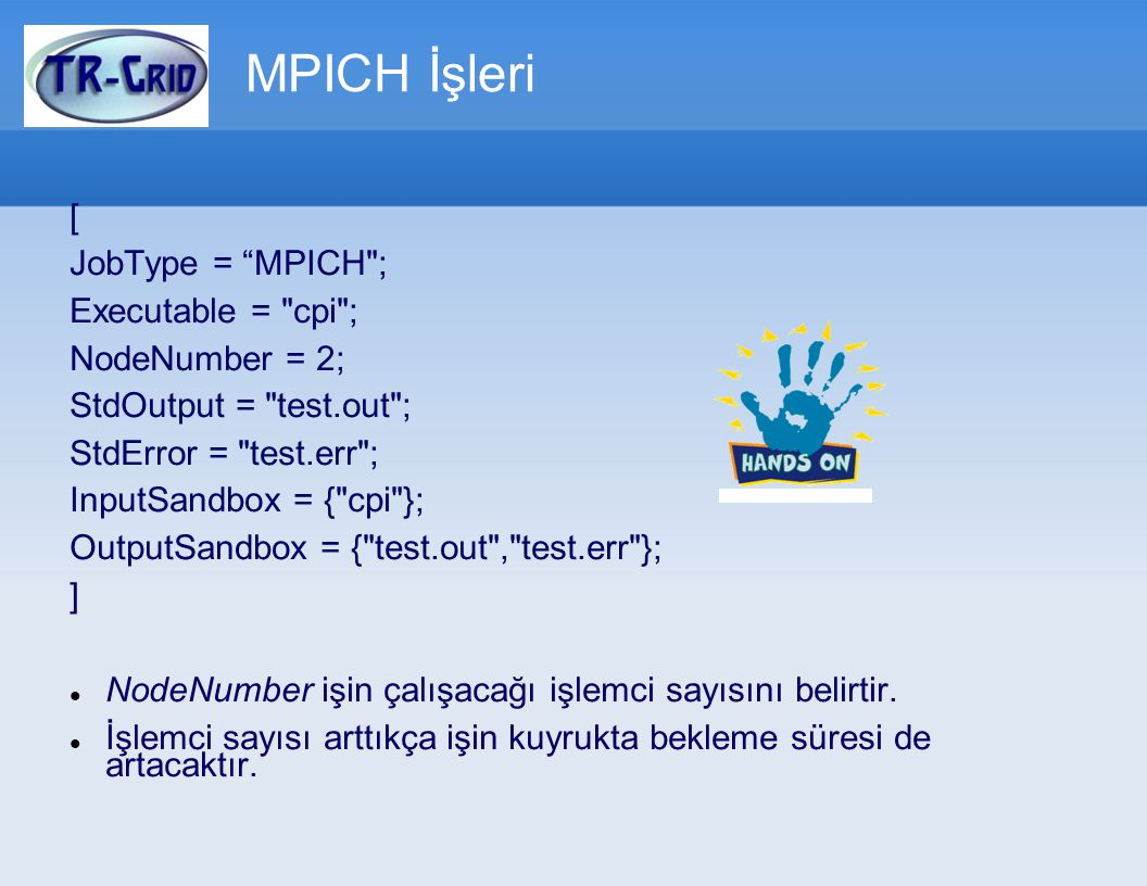 MPICH İşleri [ JobType = MPICH ; Executable = cpi ; NodeNumber = 2;